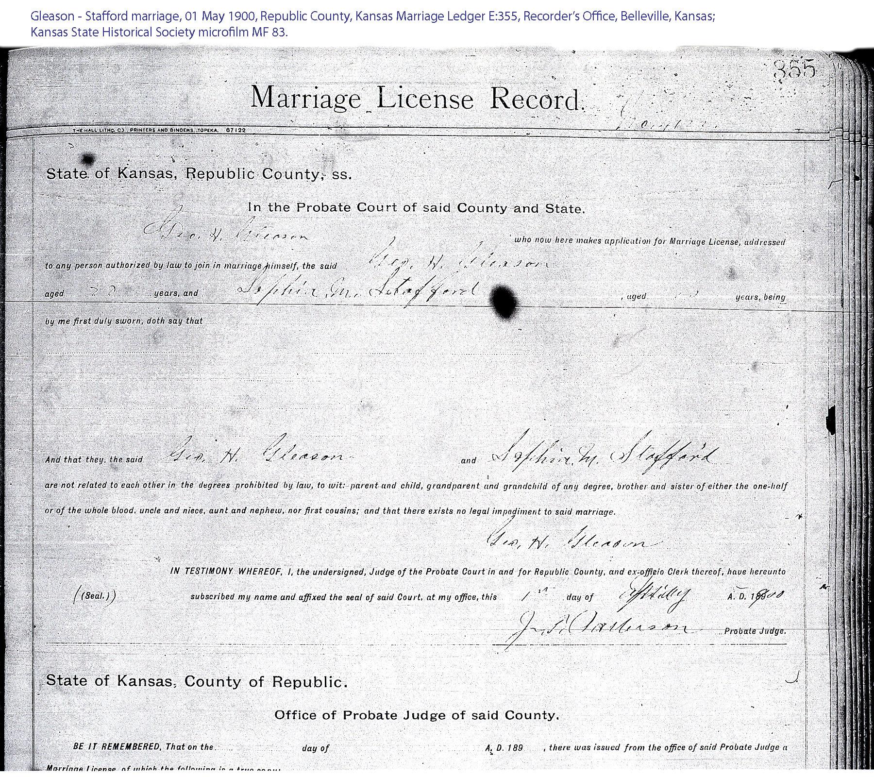 Kansas republic county agenda - Gleason Stafford Marriage Record 01 May 1900 Republic County Kansas